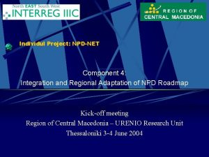 Individul Project NPDNET Component 4 Integration and Regional