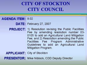 CITY OF STOCKTON CITY COUNCIL AGENDA ITEM 9
