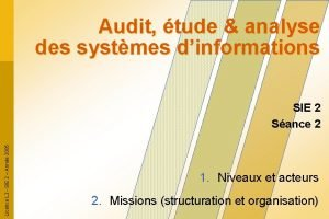 Audit tude analyse des systmes dinformations Licence L