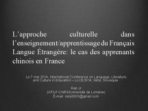 Lapproche culturelle dans lenseignementapprentissage du Franais Langue trangre
