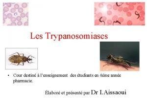 Les Trypanosomiases Cour destin lenseignement des tudiants en