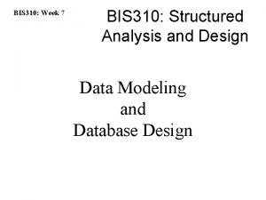 BIS 310 Week 7 BIS 310 Structured Analysis