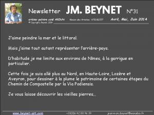 Newsletter artistepeintre cot AKOUN JM BEYNET N 31