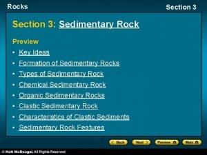 Rocks Section 3 Sedimentary Rock Preview Key Ideas