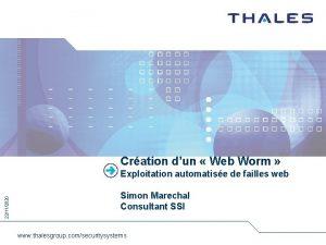 Cration dun Web Worm 22112020 Exploitation automatise de