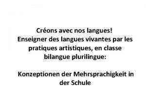 Crons avec nos langues Enseigner des langues vivantes