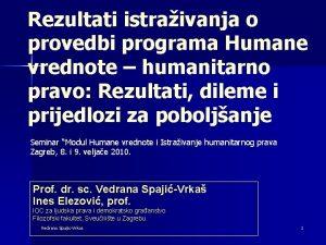 Rezultati istraivanja o provedbi programa Humane vrednote humanitarno