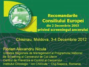 Recomandarile Consiliului Europei din 2 Decembrie 2003 privind