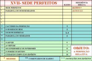 XVII SEDE PERFEITOS SLIDES REFERNCIA BBLICA SEDE PERFEITOS