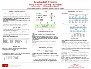 Detecting BGP Anomalies Using Machine Learning Techniques Student