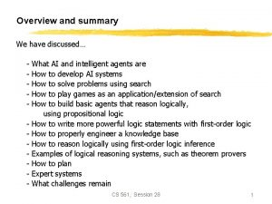 Overview and summary We have discussed What AI