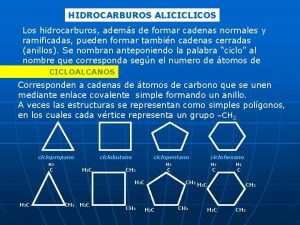 HIDROCARBUROS ALICICLICOS Los hidrocarburos adems de formar cadenas