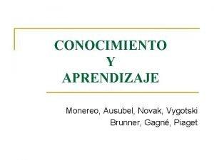 CONOCIMIENTO Y APRENDIZAJE Monereo Ausubel Novak Vygotski Brunner