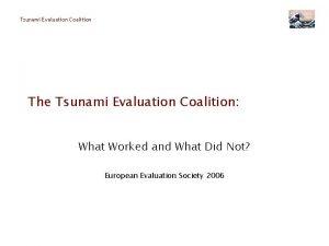 Tsunami Evaluation Coalition The Tsunami Evaluation Coalition What