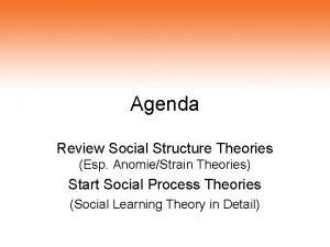 Agenda Review Social Structure Theories Esp AnomieStrain Theories