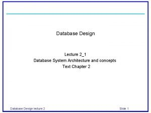 Database Design Lecture 21 Database System Architecture and