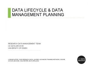 DATA LIFECYCLE DATA MANAGEMENT PLANNING RESEARCH DATA MANAGEMENT