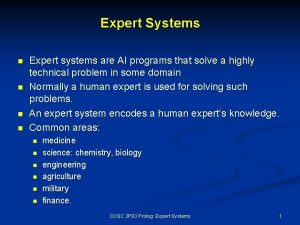 Expert Systems n n Expert systems are AI