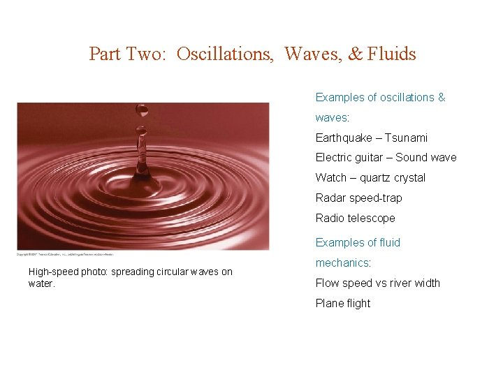 Part Two Oscillations Waves Fluids Examples of oscillations