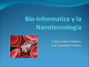 BioInformatica y la Nanotecnologia Carlos Lerma Gimnez Luis