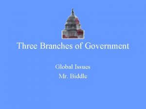 Three Branches of Government Global Issues Mr Biddle