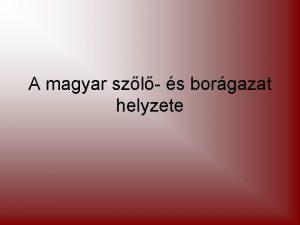 A magyar szl s borgazat helyzete A magyar