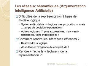 Les rseaux smantiques Argumentation Intelligence Artificielle Difficults de