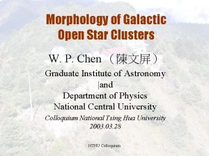 Morphology of Galactic Open Star Clusters W P