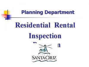 Planning Department Residential Rental Inspection Program Residential Rental