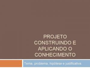 PROJETO CONSTRUINDO E APLICANDO O CONHECIMENTO Tema problema