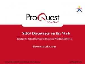 SIRS Discoverer on the Web Interface for SIRS