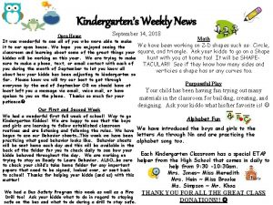 Kindergartens Weekly News September 14 2018 Open House