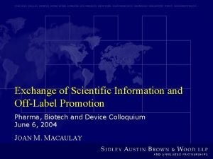 Exchange of Scientific Information and OffLabel Promotion Pharma