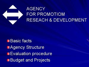 AGENCY FOR PROMOTIOM RESEACH DEVELOPMENT Basic facts Agency