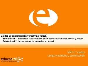 Unidad 2 Comunicacin verbal y no verbal Subunidad