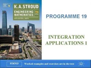 Programme 19 Integration applications 1 PROGRAMME 19 INTEGRATION