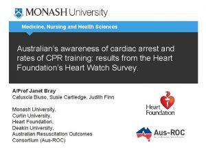 Medicine Nursing and Health Sciences Australians awareness of