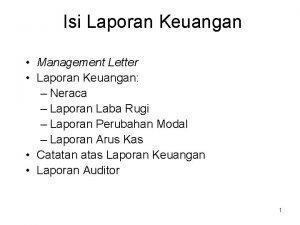 Isi Laporan Keuangan Management Letter Laporan Keuangan Neraca