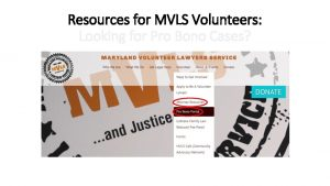 Resources for MVLS Volunteers Looking for Pro Bono