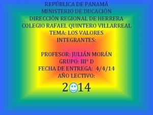 REPBLICA DE PANAM MINISTERIO DE DUCACIN DIRECCIN REGIONAL