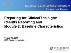 ICTR The Johns Hopkins Institute for Clinical and