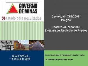 Decreto 44 7862008 Prego Decreto 44 7872008 Sistema