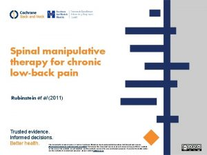 Spinal manipulative therapy for chronic lowback pain Rubinstein