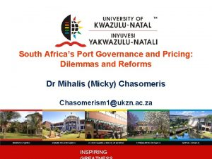 South Africas Port Governance and Pricing Dilemmas and