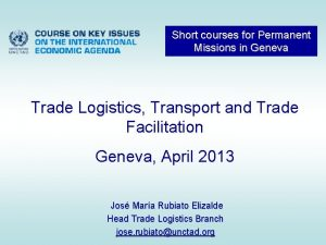 Short courses for Permanent Missions in Geneva Trade