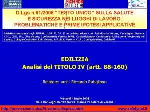 D Lgs n 812008 TESTO UNICO SULLA SALUTE