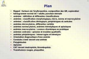 1 Plan Institut Bergoni Rappel facteurs de lrythropose