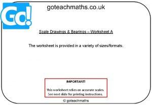 Scale Drawings Bearings Worksheet A The worksheet is
