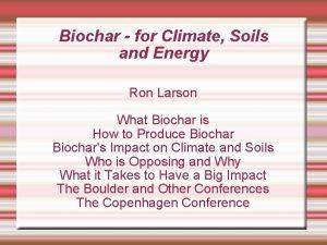 Biochar for Climate Soils and Energy Ron Larson