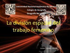 Universidad Nacional Autnoma de Mxico Colegio de Geografa